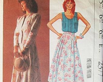 30% OFF SALE 1980s Vintage Sewing Pattern McCalls 2377 Misses Jacket, Top & Skirt Pattern Size 8 Bust 31 1/2