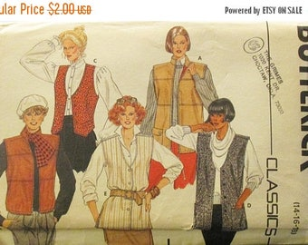 30% OFF SALE Vintage Sewing Pattern Butterick 6786 Misses Vest Pattern Size 14, 16, 18 Uncut