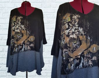 Floral Flare Tunic Shirt Eco Friendly Plus Recycled Womens Clothes Earthy Gray Black 3x 4x xxxl xxxxl