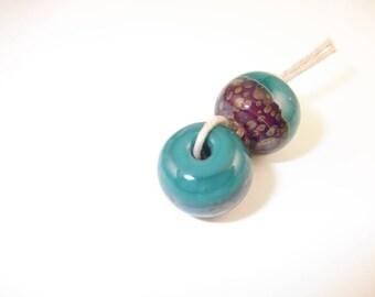Aqua Pink Boro Beads 2 Handmade Lampwork - Prima Donna Beads - SRA