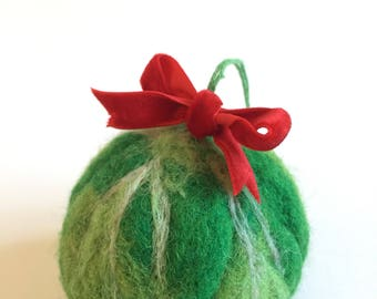 Needle Felted Brussel Sprout Christmas Tree Bauble Decoration
