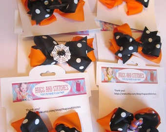 Halloween Party Hair Bows Bats, Headstones, Witches Hats and Spider Webs