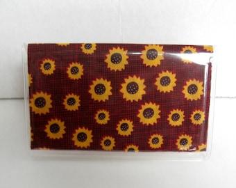 Sunflower Business Card Holder - Vinyl Biz Card Case -  Sunflowers - Gift Card Holder - Fall Vinyl Wallet - Fall Party Favor
