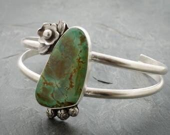 Turquoise Floral Cuff. Double Cuff Bracelet. Sterling Silver Bracelet. Gemstone Silver Cuff. Silver Cuff Bracelet. December Birthstone