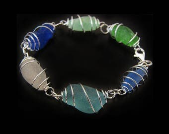 Sea Glass Bracelet, Rare Ocean Blues, Genuine Sea Glass Jewelry, Jewellery