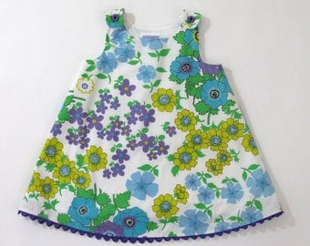 Purple, Turquoise & Yellow Retro Floral Girls Dress, Newborn Dress, Toddler Dress, Girls Dresses, Baby Dress, Size Newborn to Girls Size 6