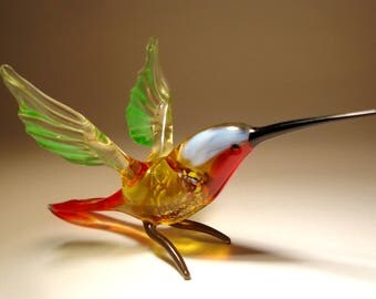 Handmade Blown Glass Figurine Art Green & Blue HUMMINGBIRD Bird with Red Throat