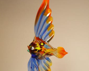 Handmade Blown Glass Art Figurine Blue and Red ANGELFISH Fish - Standing or Ornament