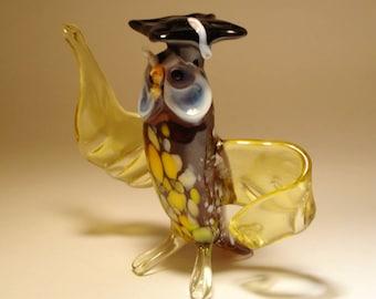 Blown Glass Figurine Art  Bird Brown OWL Professor in Graduation Cap