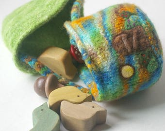 Cozy Gnome Home + Wool Toy Pouch: Wee Dwellings, Copper Cottage (Felted Wool Gnome or Fairy Home, Play & Storage)