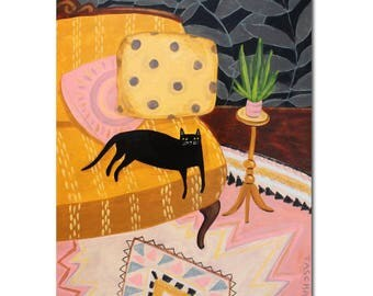 Black Cat on a mustard yellow loveseat painting ORIGINAL cat folk art painting acrylic painting one of a kind original by Tascha