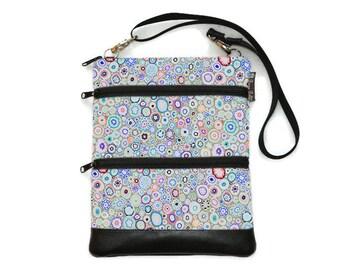 Crossbody Bag Cross body Purse - 3 zippered Sling Purse - iPad Bag - Tablet Bag - Cross Body Tablet Bag - Crossbody Blanket of Blooms Fabric
