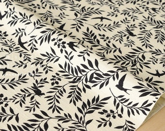 Japanese Fabric - bird and berry - cream, black - 50cm