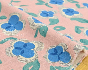 Japanese Fabric watercolor flowers - peach pink, blue - 50cm