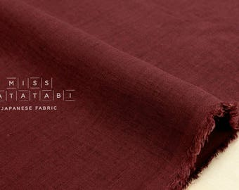 Japanese Fabric 100% linen - wine -  50cm
