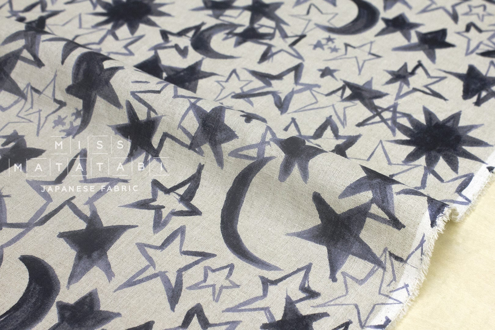 Japanese fabric 100 linen moon and stars black grey for Moon and stars fabric
