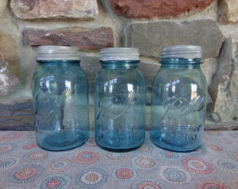 Vintage Lot of 3 Blue Aqua Ball Perfect Mason Quart Canning Jars w/Zinc Lids #L3