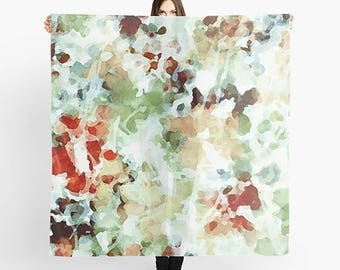 Art Scarf, Square Scarf, Abstract Scarf, Watercolor Scarf, Green Scarf, Pastel Scarf, Lightweight Scarf, Women's Scarf, Sheer Scarf