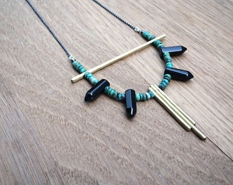 the Lindsay necklace in turquoise, onyx and brass | sterling silver chain | statement necklace | gift for her