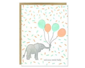 Baby Elephant Card / Welcome Sweet Baby / New Baby Card / Letterpress Printed Elephant Holding Balloons in Peach, Mint, and Gray