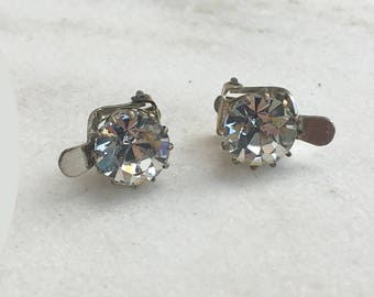Vintage Rhinestone Earrings, 1950's, Single Stone, Silver Setting, Clip On