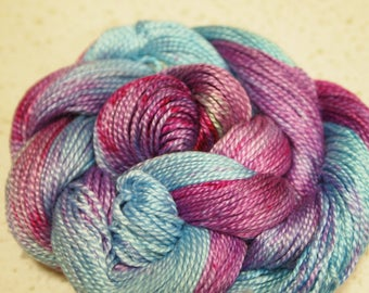 Handpainted Perle Cotton Yarn 150yds 1.25 oz Lace Weight Hand Painted Aspenmoonarts CP1 knitting weaving