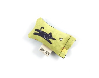 Black Cat And Butterfly Green Bean Organic Eco Friendly Catnip Cat Toy For Mew, Gift For Cat Lover
