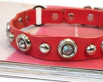 Coral Red Leather Cat Collar with Gems and Silver Studs, Seattle Handmade, Eco-Friendly Safe Collar for Cats by Greenbelts, USA