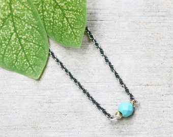Turquoise beads simple pendant necklace with oxidized sterling silver chain