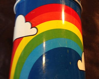 Vintage Tin Can With Rainbows Free Shipping