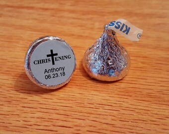 """Personalized Baptism Christening Hershey Kiss Stickers Labels Blue 0.75"""""""