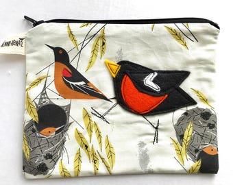 Baltimore Oriole Felt Applique zipper pouch, Charley Harper fabric, organic cotton, lined, gift idea
