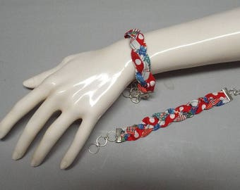 Braided Fabric Bracelet - Mother Daughter Bracelets - Friendship Bracelets - Bridemaid Gift Bracelet