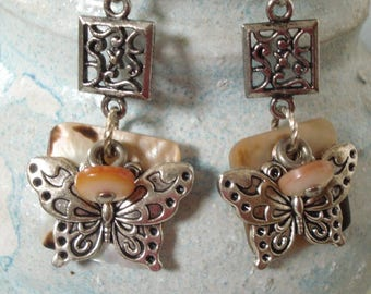 Butterflies with Vintage Mother of Pearl Shoe Buttons and Squares. Multi Layer Dangling Earrings