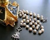 Champagne Mystic Moonstone Antique Sterling Lion's Paw Amulet Necklace - Lynnette Necklace