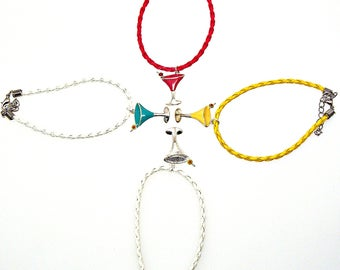 SALE Bracelet or Anklet Adjustable Martini Cosmopolitan Cocktail Drink Plated Pendant Friendship Braided Faux Leather Epoxy Color Charm