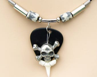 Shark Tooth Necklace with Skull and Crossbones Pewter Bead Pendant Pirate Jewelry