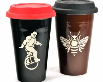 2 Travel Mugs - custom choice of designs and cup colors