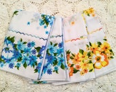 New Old Stock Pillow Cases - Unused - Orange Yellow Blue Green Florals - Vintage Muslin Pillowcases - NOS - 1970s