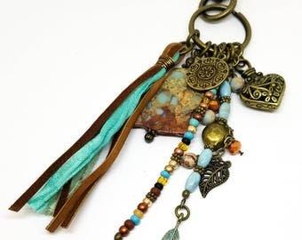 Tassel Keychain | Boho Tassel Charm | Southwest Tassel Bag Charm | Imperial Jasper Keychain | Tassel Purse Charm | Gift for Her