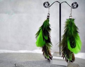 Feather Earrings - Green Earrings - Bohemian Jewelry - Boho Earrings - Feather Jewelry - Boho Jewelry - Silver Earrings forest girl jewelry