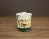 Sleepy Fox Whiskey Cup, Hip Drinks, Woodland Creature, Gift for Home, Modern Housewares, Sweet Pottery