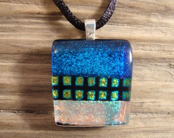 Dichroic Fused Glass Pendant - Dichroic Fused Glass Necklace