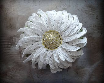 Crocheted Stone, Daisy Flower Bloom Handmade Original Lace, Large Paperweight, Housewarming, Garden, Patio, Office, Heirloom Gift, Monicaj