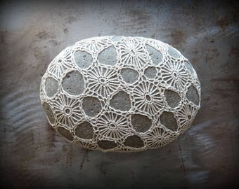 Crocheted Stone, Original, Handmade One of a Kind, Lace, Decorative Doily, Home Decor, Circles, Ecru, Mocha Thread, Small, Gift, Monicaj
