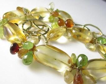 SUMMER SALE As Summer Sets Necklace - Citrine, 14k Gold Fill, Spessartite Garnet, Hessonite, Vesuvianite