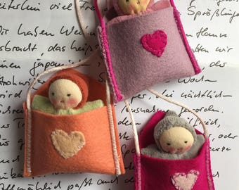 Custom Necklace Love Letter, small handmade Waldorf doll