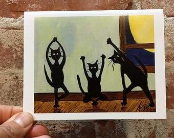 Black Cat Card - Yoga Cat Card - Kitty Card - Yoga Card - Art Card - Unique Yoga Card - Blank Inside - Cat Mom Gift