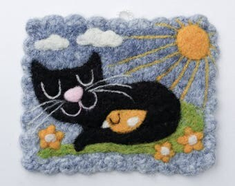 Wall hanging felted light blue wool fiber art hand knit with needle felted cat birdie bird sun