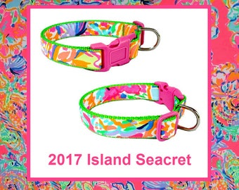 2017 ISLAND SEACRET Dog Collar and/or Leash on Green with Bow or Flower Option Made from Lilly Pulitzer Fabric Size: Your Choice